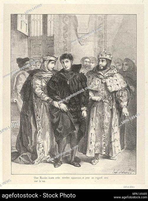 The Queen Tries to Console Hamlet. Series/Portfolio: Hamlet, Treize Sujets Dessinés par Eug. Delacroix [Hamlet, Thirteen Subjects Drawn by Eug