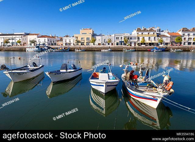 Fishing boats at Tavira; Eastern Algarve; Portugal