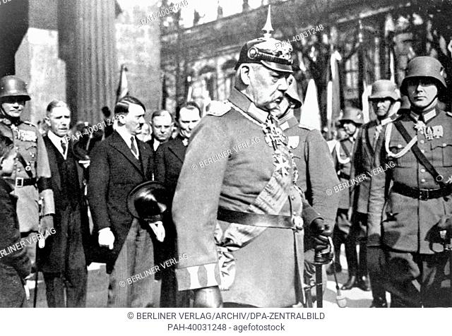 Reich President Paul von Hindenburg is pictured in a Prussian uniform in front of Neue Wache in Berlin, Germany, around 1933/34