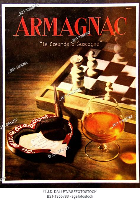 Old poster about drinking armagnac: you need to have time to smoke a pipe, to play chess and to be a person 'of heart' (note the 'au Coeur de la Gascogne'...