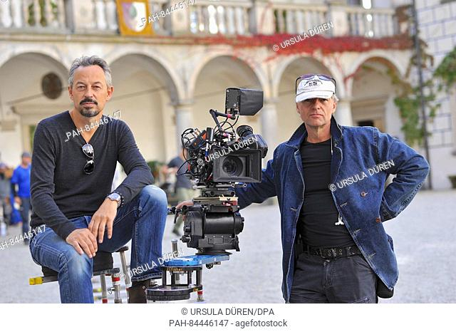 """Cameraman Peter Joachim Krause (L) and director Hansjoerg Thurn pictured during filming of the SAT.1 historical drama """"""""Die Ketzerbraut"""""""" (lit"""