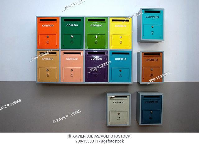 Colourful mailboxes, Lisbon, Portugal