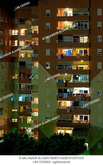 Night view of apartment complex
