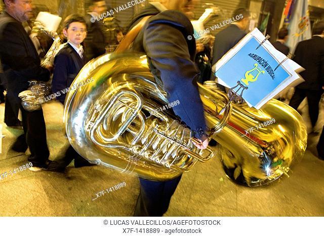 Musicians Palm Sunday processionCofradia del Santisimo Cristo de la Esperanza Holy Week  Murcia  Spain