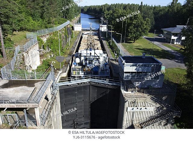 Cargo ship Elise at Mälkiä lock in Saimaa canal, Lappeenranta Finland