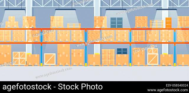 Warehouse interior with cardboard boxes on metal racks. empty Warehouse interior with goods, pallet trucks and container package boxes