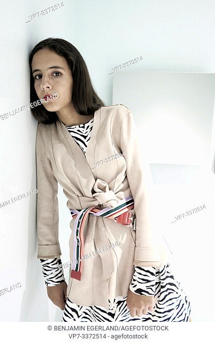 stylish woman in bathroom