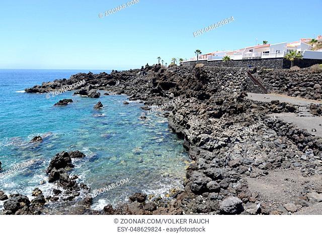 Küste, Playa San Juan, Teneriffa, kanaren, kanarische inseln, spanien, atlantik, meer, ozean, felsenküste, westküste