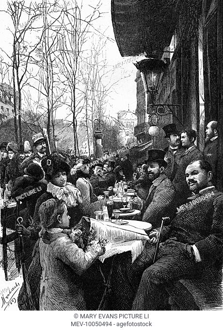 Seated at a terrace in the boulevard Saint-Michel, Paris, a customer purchases a nosegay from a flower girl, while another vendor offers the 'Quartier Latin'...