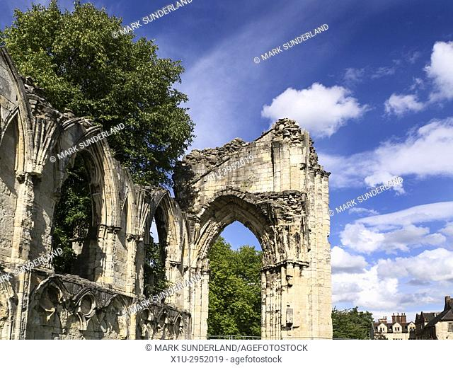 St Marys Abbey Ruins in Museum Gardens York Yorkshire England
