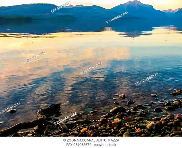 Two Medicine Lake and Mount Sinopah on background at sunset, Glacier National Park, Montana, United States