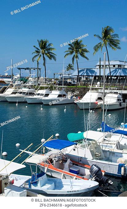 Kona Hawaii Kailua-Kona Big Island boats at marina called Honokohan Marina & Harbor, Holokohau fishing ships