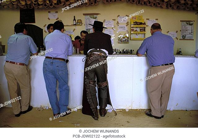 Jerez de la Frontera, a group of men drinking a sherry at the bar in a caseta of the Feria del caballo
