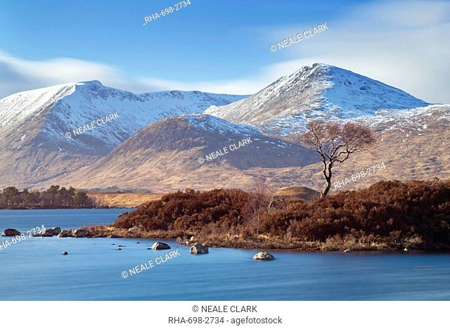 Snow covered mountains around Lochan na h-Achlaise, just by the A82, lower Rannoch Moor, Argyll and Bute, Highlands, Scotland, United Kingdom, Europe