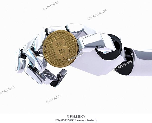 Concept of a robotic mechanical arm. 3D rendering