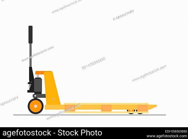 Hand pallet jack lift and wooden pallet isolated on white. cargo cart or forklift. Delivery, logistic and shipping cargo