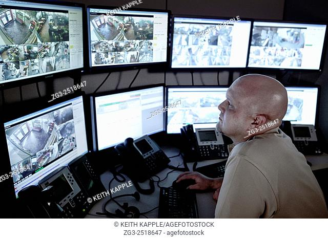 Video surveillance, control room with monitor wall