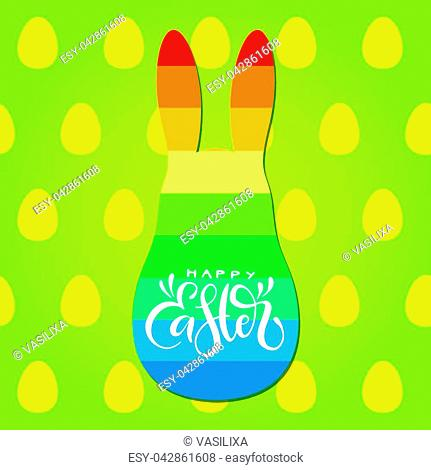 Happy Easter calligraphic inscription with rainbow bunny silhouette on green background with eggs pattern. Vector holiday card