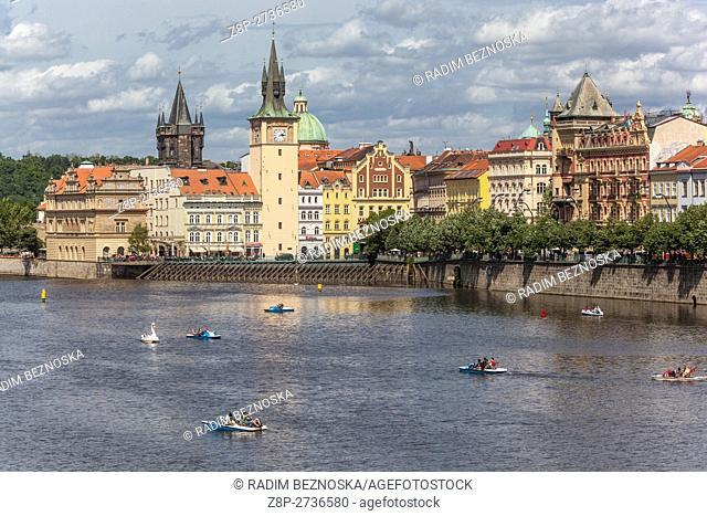 River Vltava and Old Town Mills Prague, Czech Republic