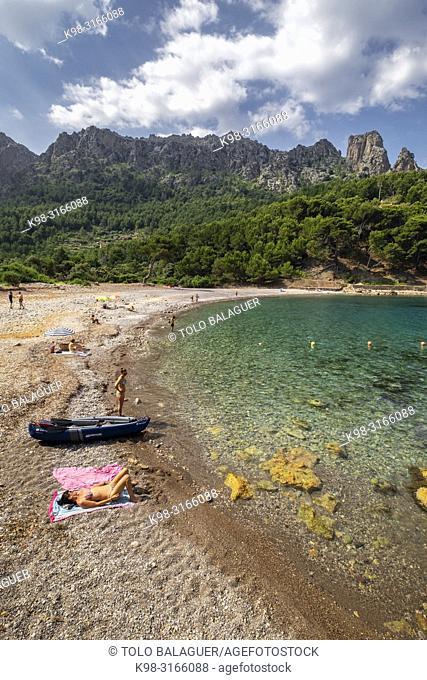 Cala Tuent, municipio de Escorca, Paraje natural de la Serra de Tramuntana, Mallorca, balearic islands, Spain