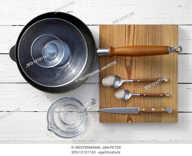 Kitchen utensils for making corn bread in a pan