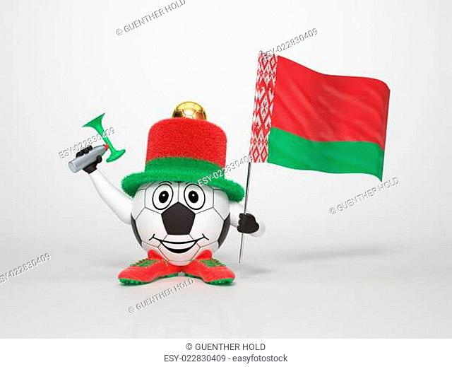 Soccer character fan supporting Belarus