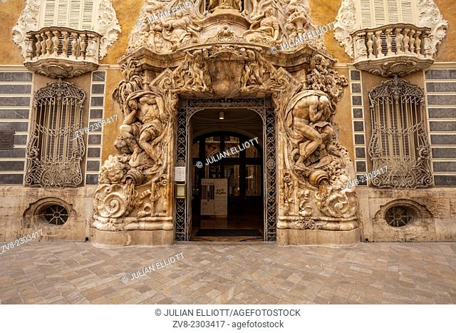 The Rococo entrance to the National Ceramics Museum in Valencia, Spain