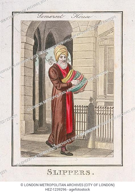 'Slippers'. A Slipper seller dressed in a turban and long robes outside Somerset House on the Strand. From Cries of London, 1804