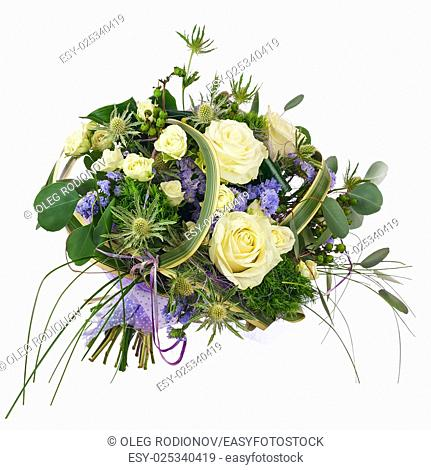 Flower bouquet from roses, green carnation and statice flowers isolated on white background. Closeup