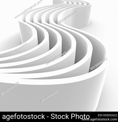 White abstract architecture background with curved wall . 3d illustration