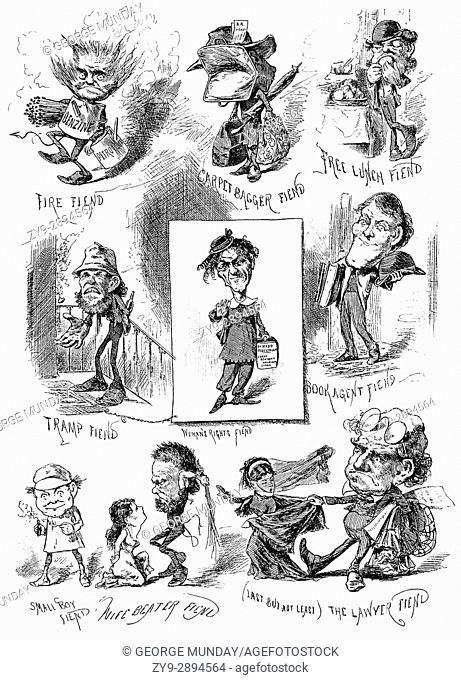 1879: A selection of caricatures of well known New York types of the late 19th Century,New York City, United States of America