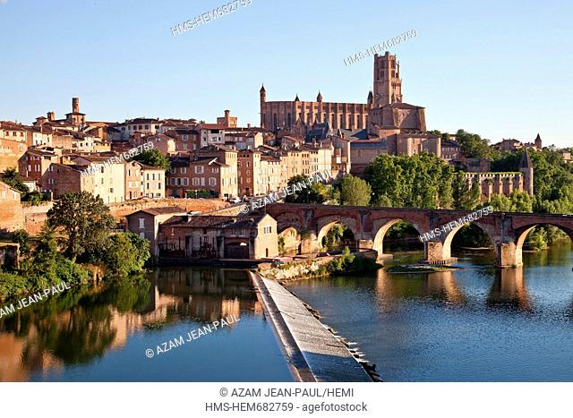 France, Tarn, Albi, the episcopal city, listed as World Heritage by UNESCO, the Sainte Cecile cathedral the old bridge and the Tarn river