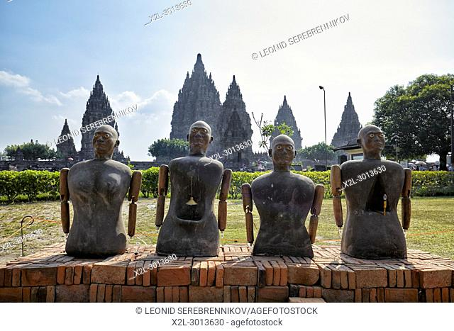 Statues at the entrance to the Prambanan Hindu Temple Compound. Special Region of Yogyakarta, Java, Indonesia