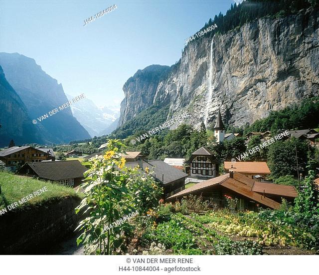 Switzerland, Europe, Lauterbrunnen, Staubbachfall, Bernese Oberland, Canton Berne, Bern, Mountain, Mountains, Alps, Al