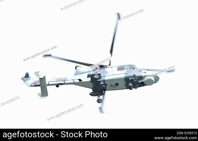 LEEUWARDEN, THE NETHERLANDS - JUNE 11, 2016: Royal Navy (Black Cats Display Team) Agusta Westland AW-159 Wildcat HMA2 performing some flights at the Royal...