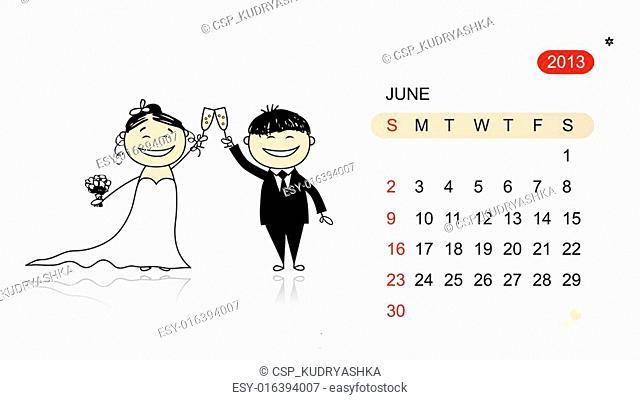 Vector calendar 2013. Wedding party for your design
