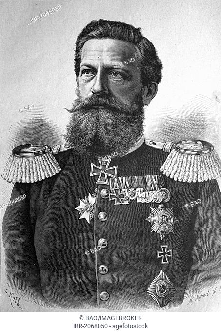 Historical engraving, Fredrick III, German Emperor and King of Prussia, full name Frederick William Nicholas Charles of Prussia, 1831-1888