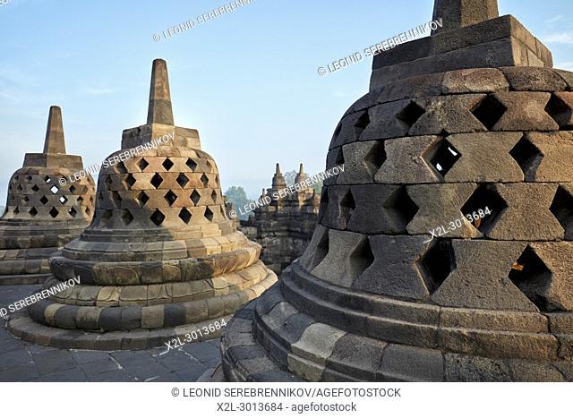 Rhombus holed stupas in Borobudur Buddhist Temple. Magelang Regency, Java, Indonesia