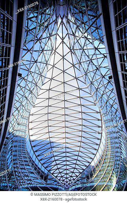 The modern architecture of Lombardy Building in Milan, Italy