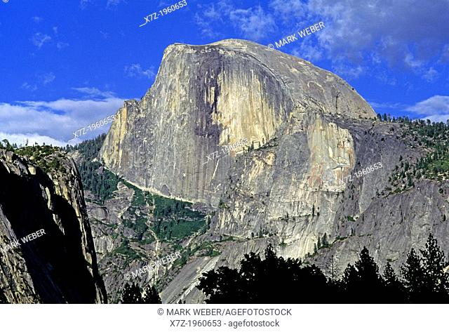 Yosemite, The Northwest Face of Half Dome at sunset from Yosemite Valley at Yosemite National Park in California
