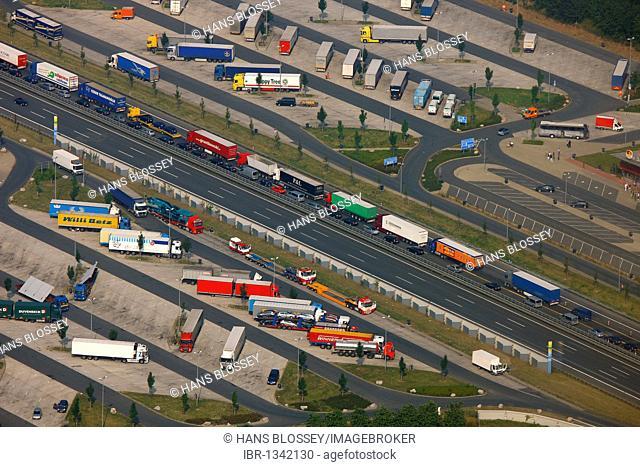 Aerial view, traffic jam on the A2 highway, truck parking lot, Hamm, Ruhrgebiet region, North Rhine-Westphalia, Germany, Europe