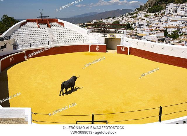 Bullring, typical white village of Mijas. Costa del Sol, Málaga province. Andalusia, Southern Spain Europe