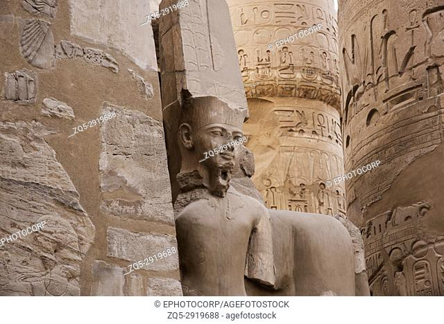 Inner view of a temple, in the Precinct of Amon Re, Luxor, Egypt
