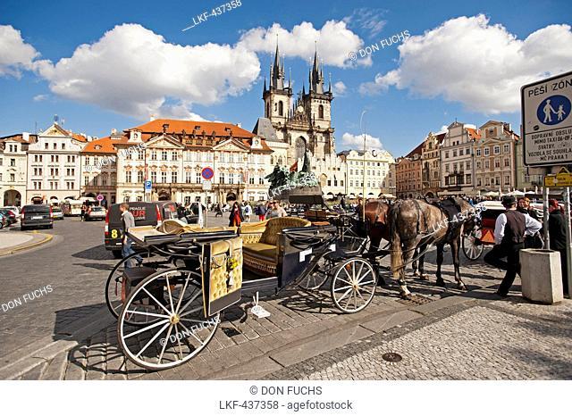 Horse drawn carriage on the Altstadtplatz, Prague, Czech Republic, Europe
