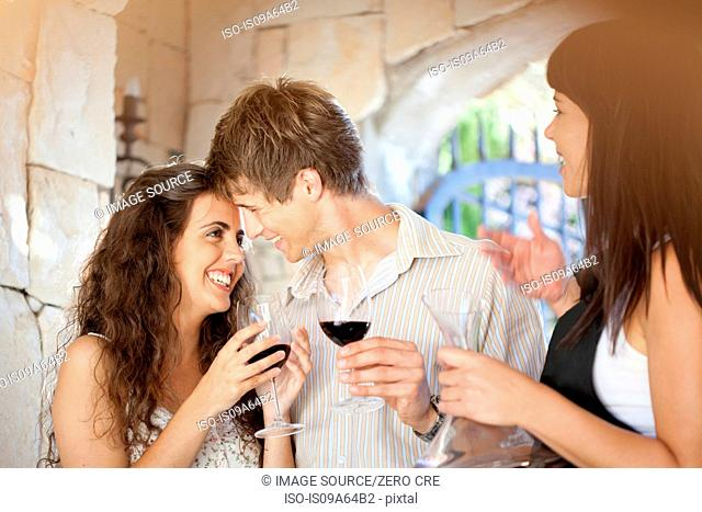Couple tasting wine in doorway
