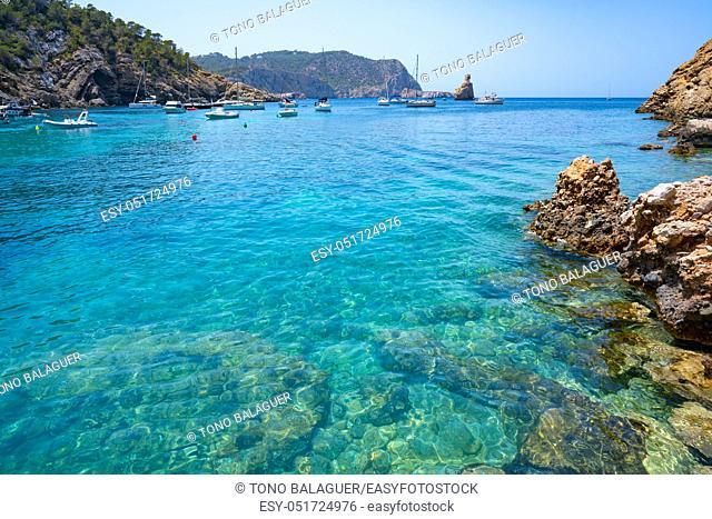 Cala Benirras beach of Ibiza in Sant Joan of Balearic Islands