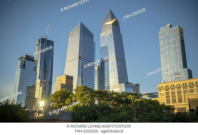 10 Hudson Yards, center left, 30 Hudson Yards, center right, and other development around Hudson Yards in New York on Friday, October 12, 2018