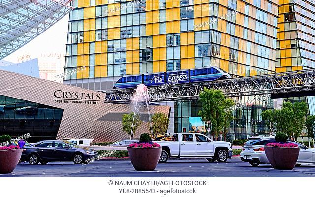 Express train above street, Las Vegas, The Entertainment Capital of the World, Nevada, USA
