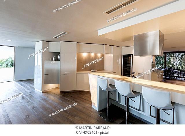 Modern, minimalist luxury home showcase interior kitchen