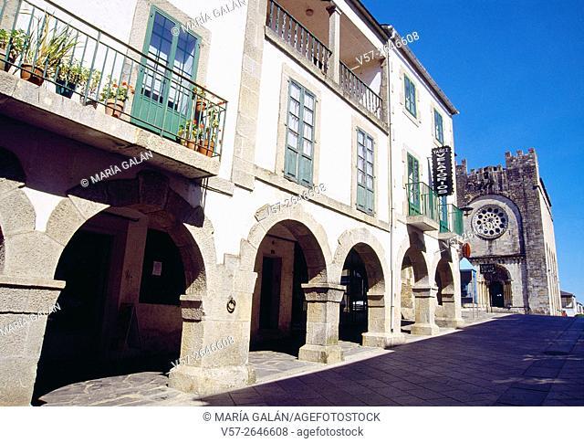 Mayor street and San Nicolas church. Portomarin, Lugo province, Galicia, Spain